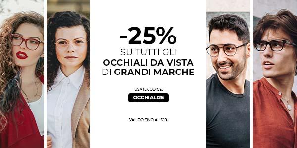 -25% su tutti gli occhiali da vista
