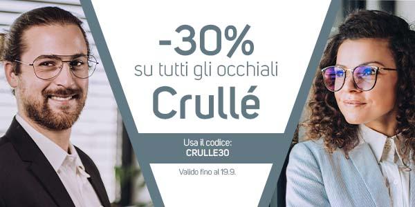 -30% su tutti gli occhiali Crulle